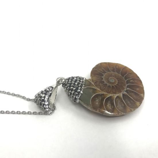 KL002 Ammonit Fosil Doğaltaşlı Kolye Ucu