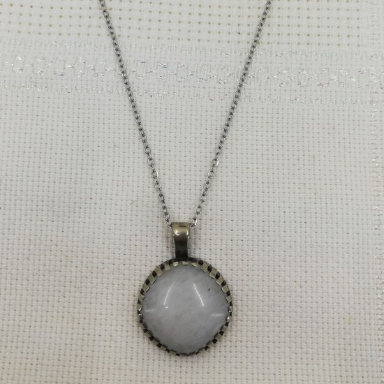 Kristal Kuvars Taşı Doğal Taş Kolye Ucu -  KLCKL0118